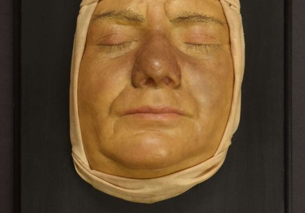 Wax cast of man's face